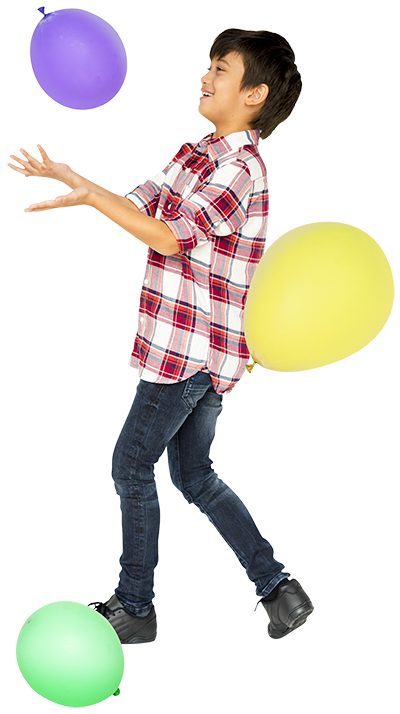 child playing with balloon - carnival rentals - greater toronto area